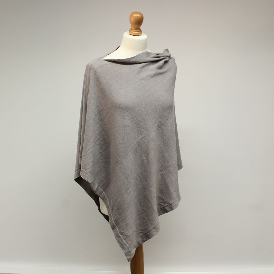 Cotton Knit Poncho - Taupe