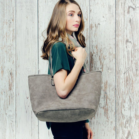 Grey Faux Suede Bag within a Bag