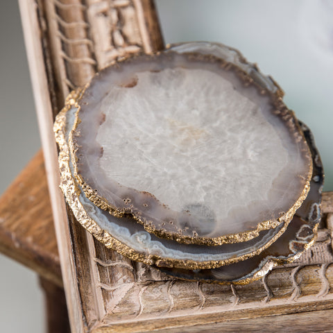 Grey Agate Coaster with Gold Foil