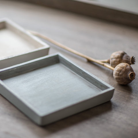 Square Wooden Tray Grey