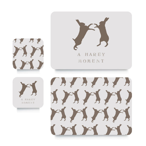 Coaster or Placemat - Boxing Hare