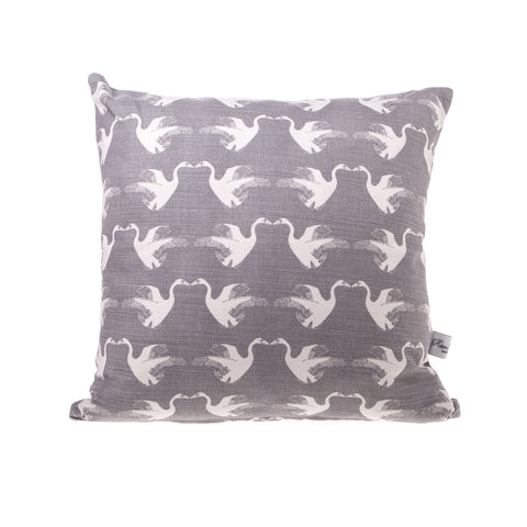 Square Linen Cushion - Swan