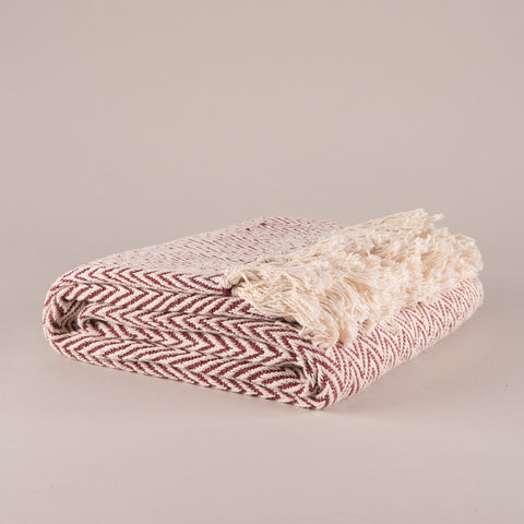 Rosewood Geometric Cotton Herringbone Throw