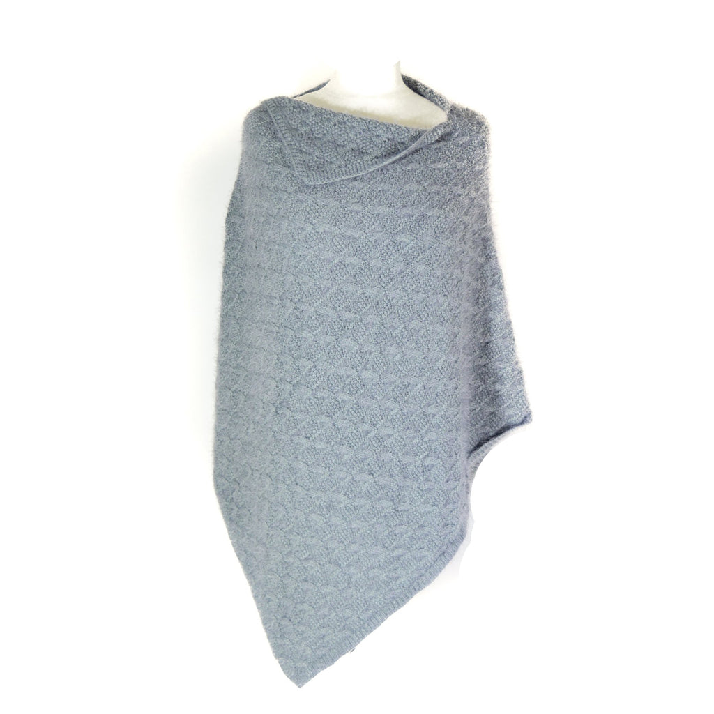 Knitted Poncho - Light Grey
