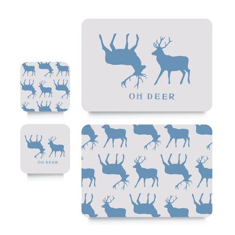 Coaster or Placemat - Oh Deer Blue Stag