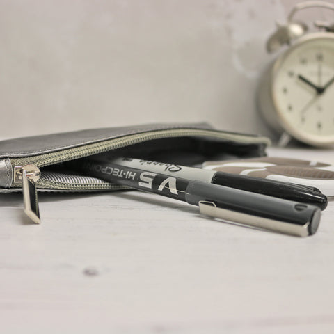 Leather Pencil Case - Pewter