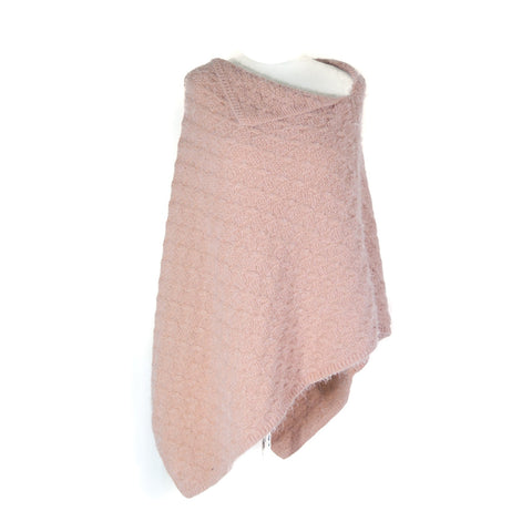 Knitted Poncho - Pink