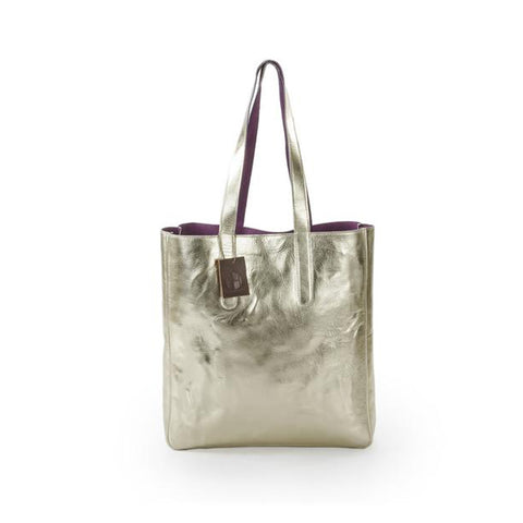 Sofia Reversible Leather Tote Bag - Gold