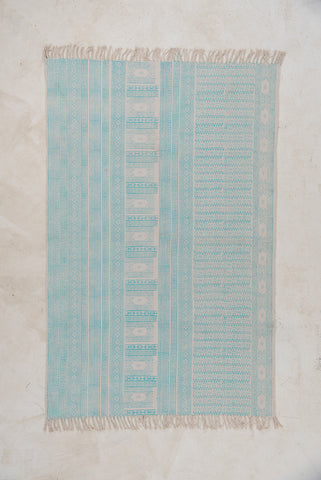 Blue Hand Block-printed Aqua Haze Cotton Rug