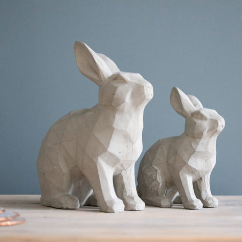 Grey Resin Decorative Bunny