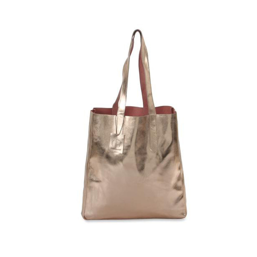 Sofia Reversible Leather Tote Bag - Rose Gold