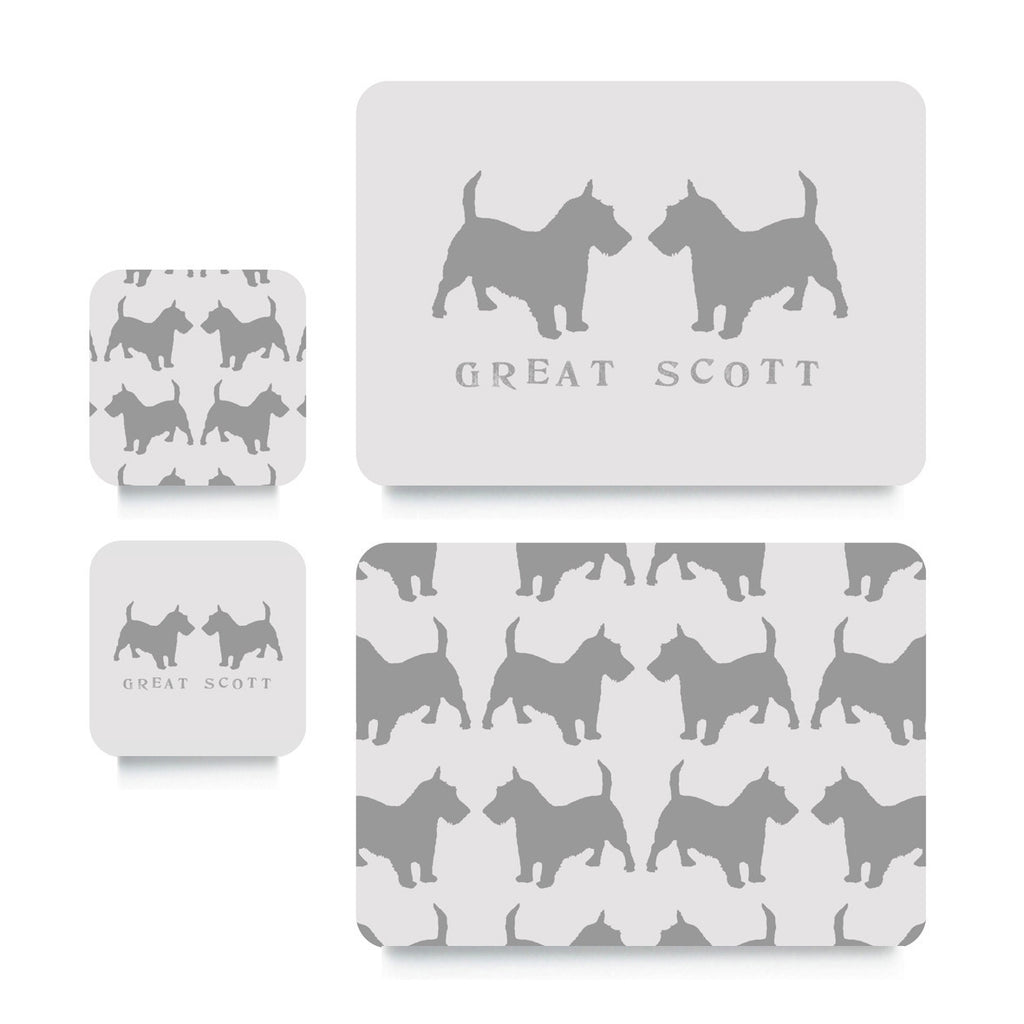 Coaster or Placemat - Scottie Dogs Grey