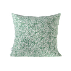 Square Linen Cushion - Shell Green