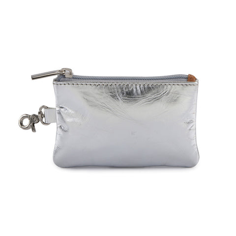 Leather Coin Purse - Silver