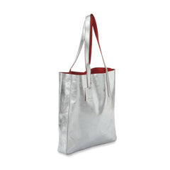 Sofia Reversible Leather Tote Bag - Silver