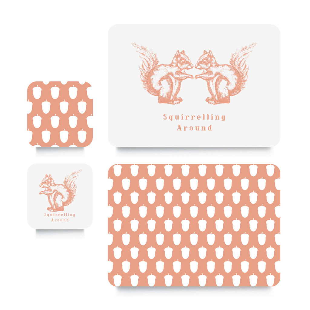 Coaster or Placemat - Squirrel Peach