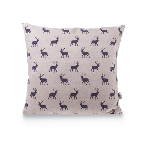 Square Linen Cushion - Stag Grey