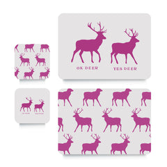 Coaster or Placemat - OK Deer Stag Pink