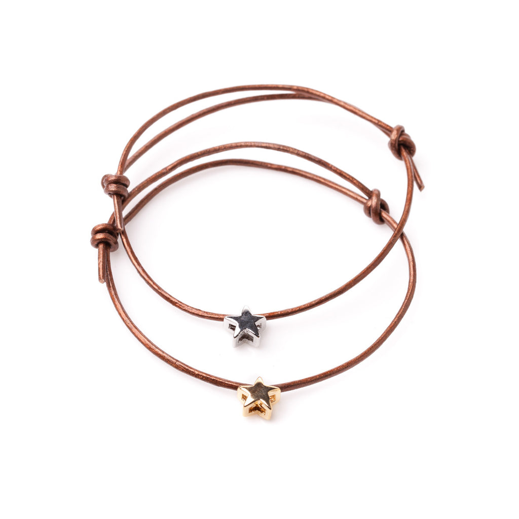 Star Leather Adjustable Bracelet