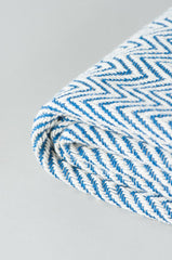 Blue Geometric Cotton Herringbone Throw