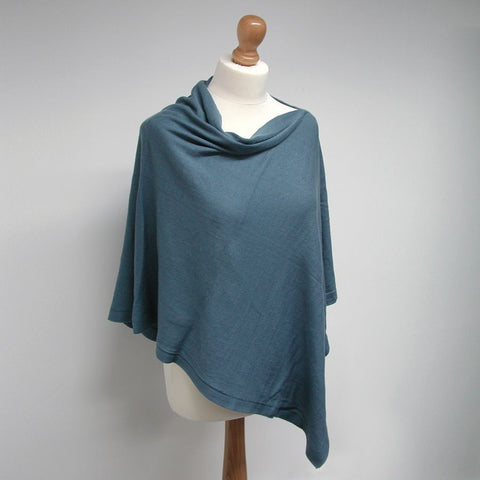 Cotton Knit Poncho - Teal