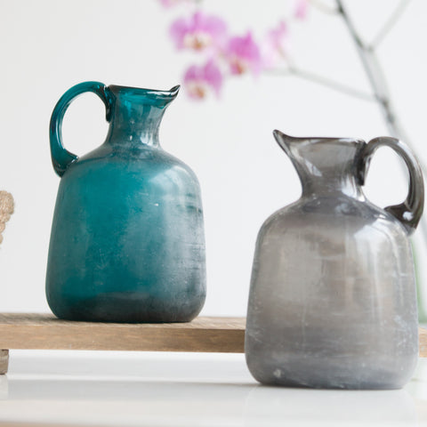 Grey Glass Frosted Jug