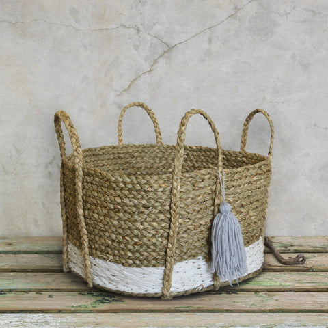 Bian Tassel Basket - Short White