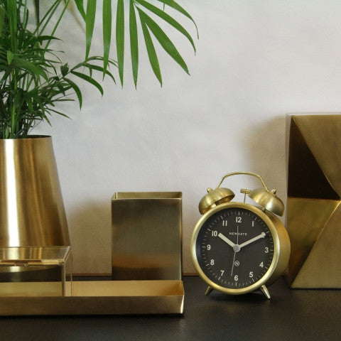 Charlie Bell Alarm Clock - Gold & Black