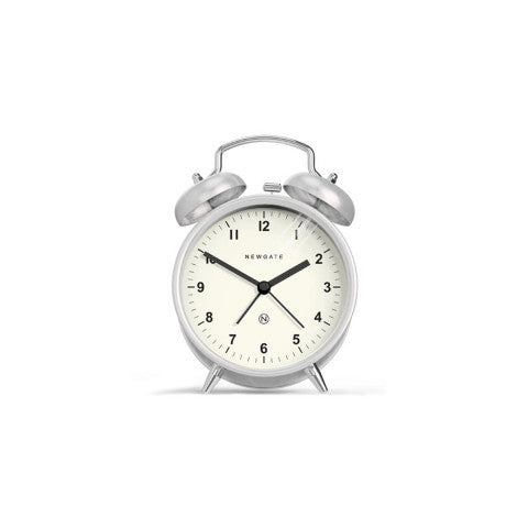 Charlie Bell Alarm Clock - Silver & White