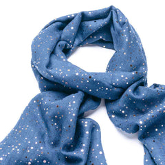 Gift Boxed Gold Dotty Scarf - Blue