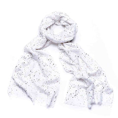 Gift Boxed Gold Dotty Scarf - White