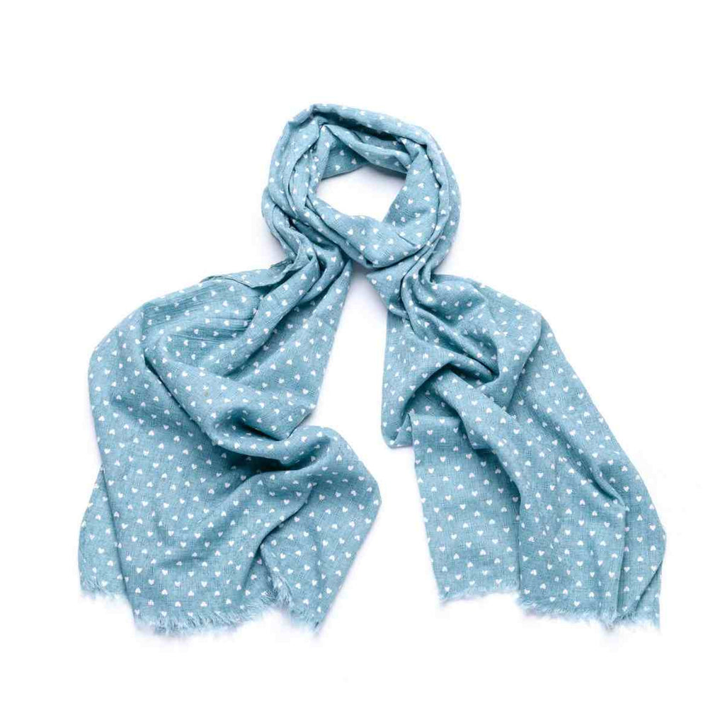Small Heart Scarf - Turquoise