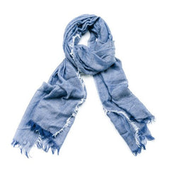 F&J Feathered Scarf - Denim Available from www.rawxclusive.co.uk