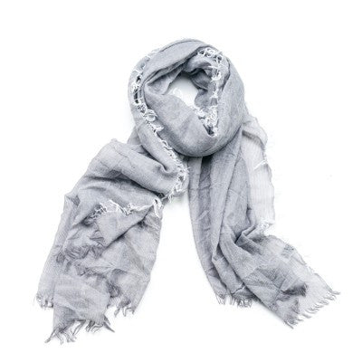 Feathered Scarf - Grey
