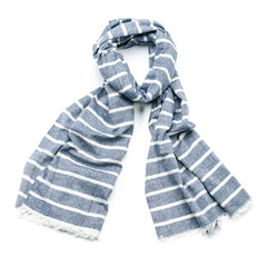 Striped Cotton Scarf - Denim