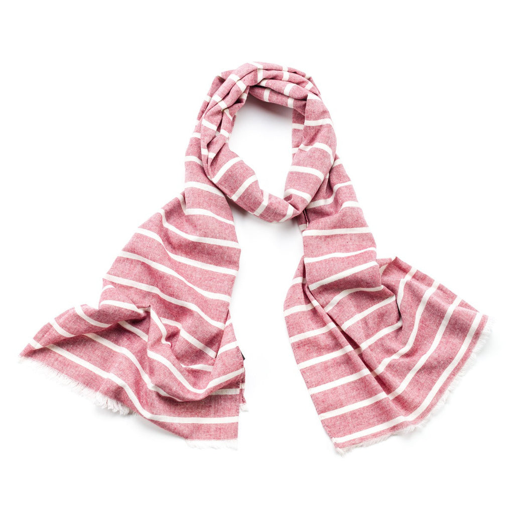 Striped Cotton Scarf - Pink