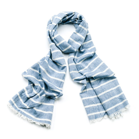 Striped Cotton Scarf - Sky Blue