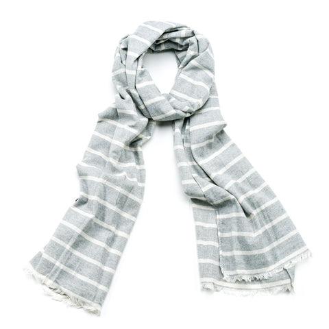 Striped Cotton Scarf - Grey