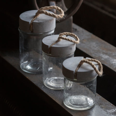 Glass Jar with Concrete Top and Rope