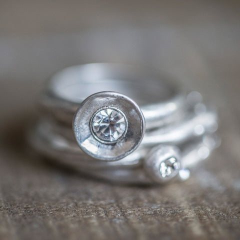 Silver Stacking Rings with Clear Crystal Stones