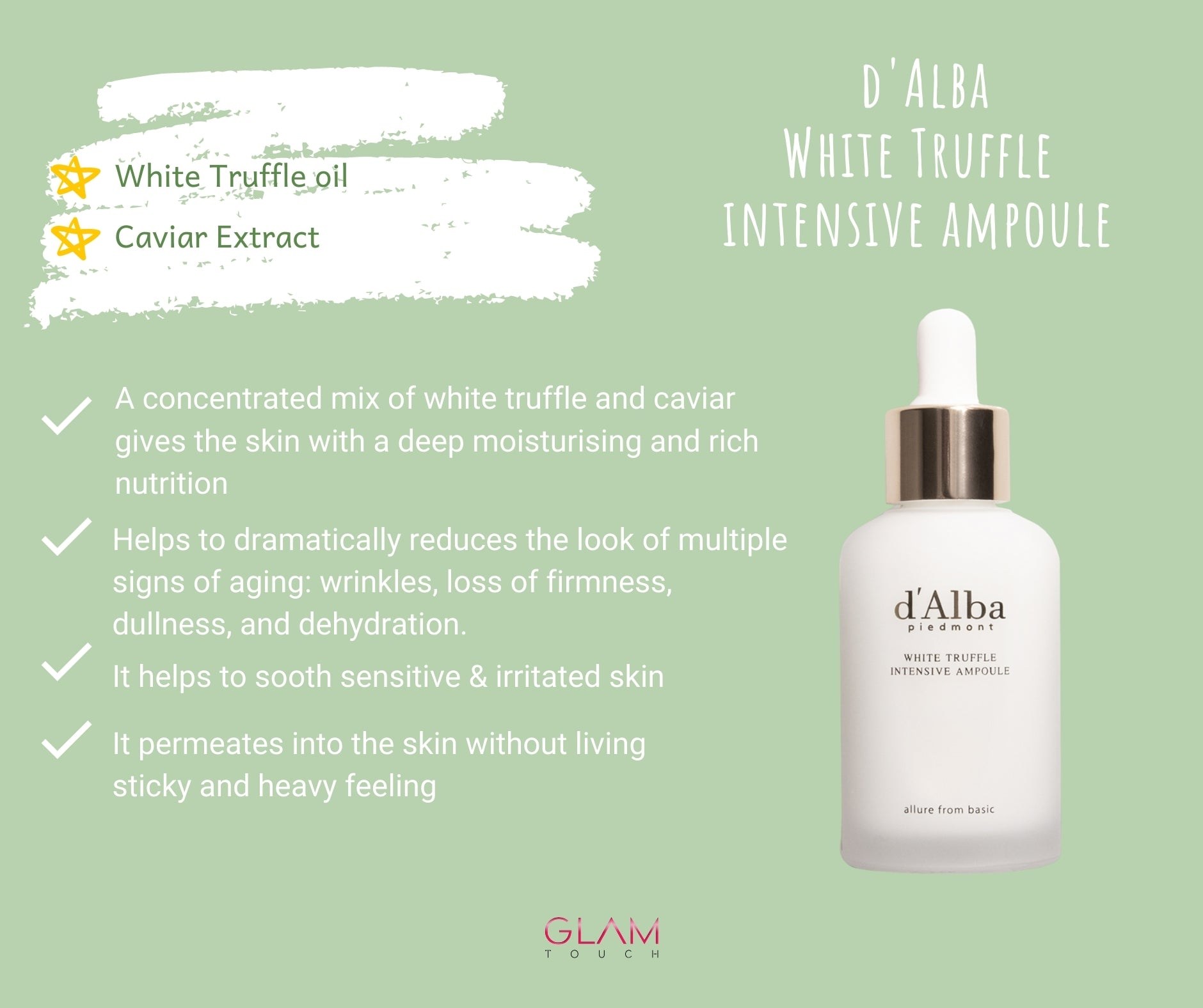 D'ALBA PIEDMONT White Truffle Intensive Ampoule (50ml) Glam Touch UK