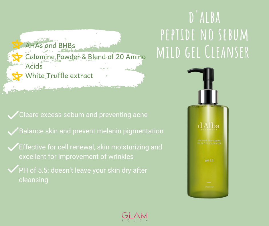 d'Alba Peptide No-Sebum Gel Cleaner