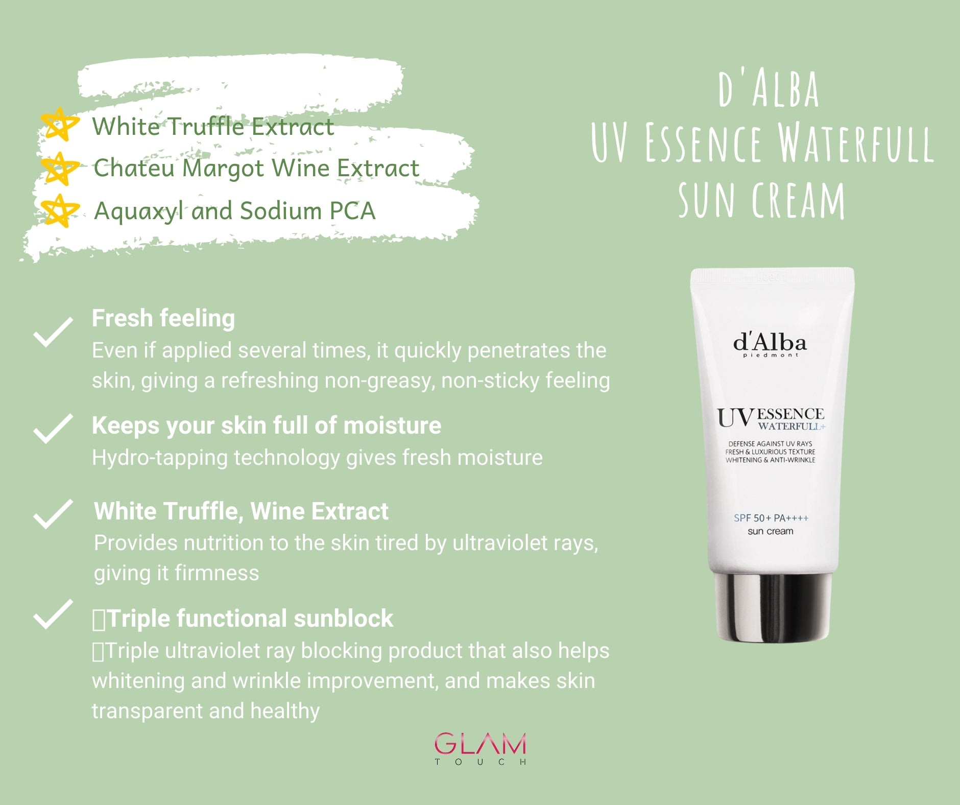 d'Alba UV Essence Waterfull Suncream (50ml) SPF 50+ PA++++ Glam Touch UK