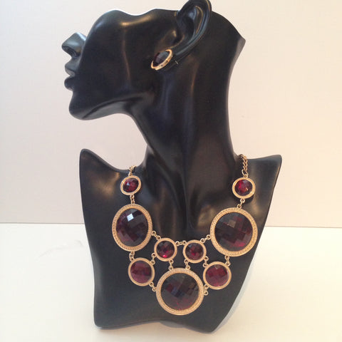 Garnet Red & Gold Necklace w/ Matching Earrings