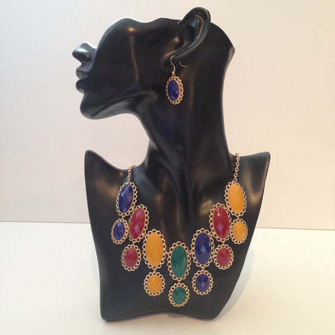 Multi-Colored Gold Necklace & Earrings Set