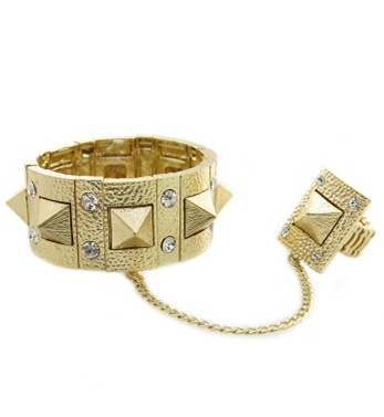 Rhinestone and Spiked Chain-Linked Bracelet and Ring Set
