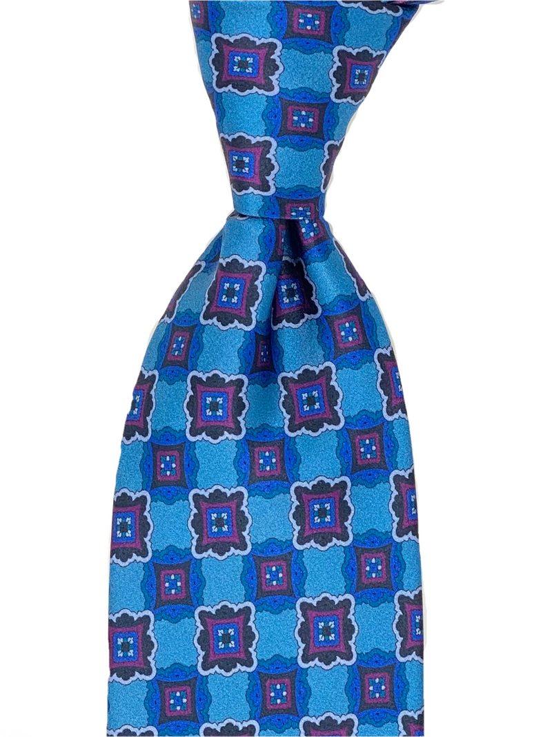 HANDPAINTED SILK TIE (BLUE)