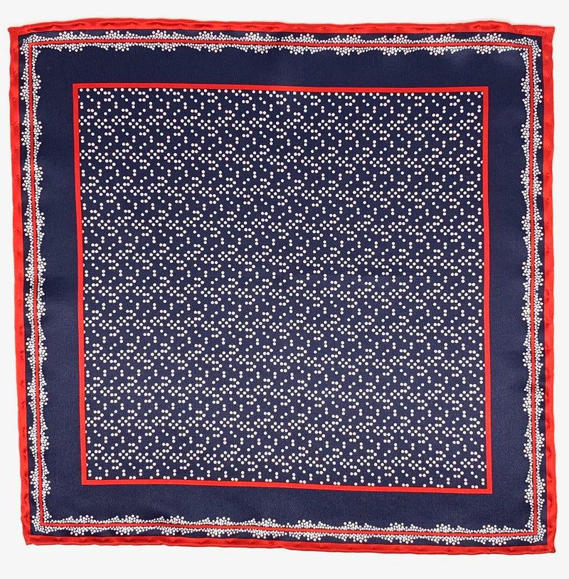Pocket Square, Navy Base with Dots/Red Trim - ELI•ROSCOE