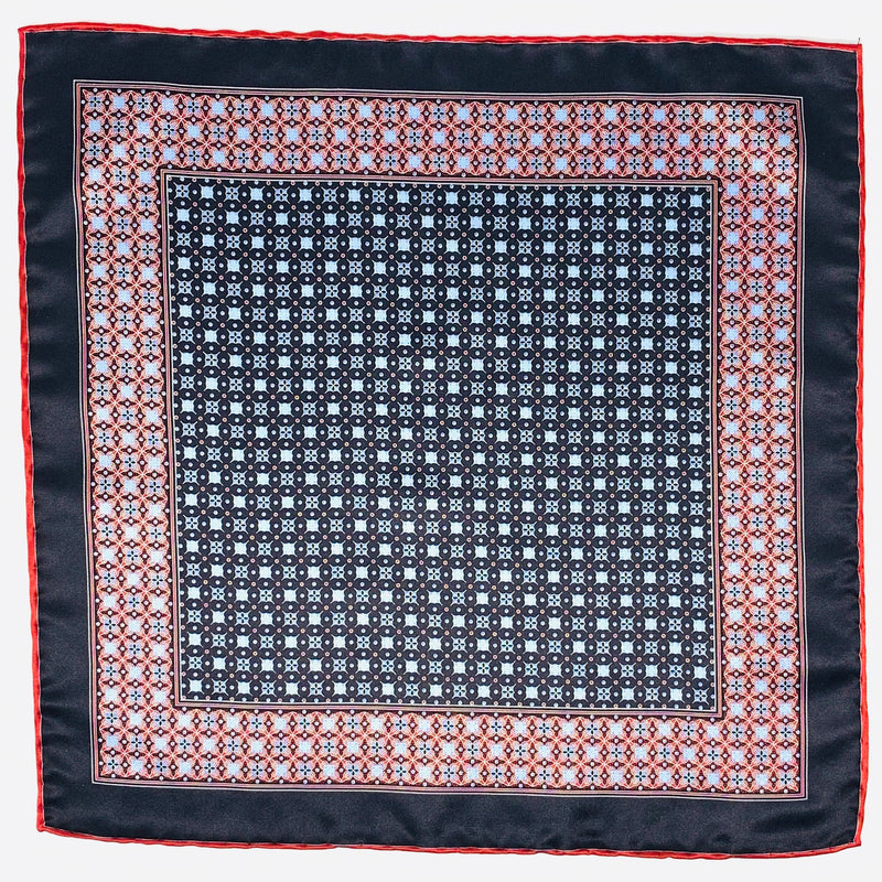 Pocket Square, Black/Red/Blue - ELI•ROSCOE