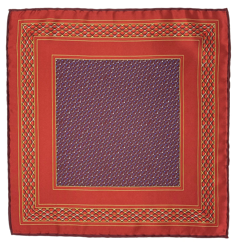 Pocket Square, Burgundy/Red & Yellow Motifs/Blue & Purple Dots Center - ELI•ROSCOE